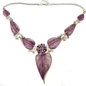 Acosta Jewellery   Lilac Enamel & Crystal Leaf Necklace