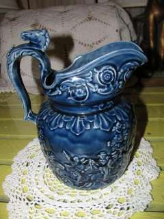 Blue Wood Pottery England Horse Head Handled Pitcher