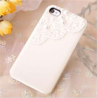 New Beige Lace Deco Bling Pearl Sweet Glossy Case Cover for iPhone 4