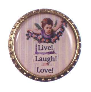 New MAXIMAL ART Live Love Laugh Angel Cherub Round Pin