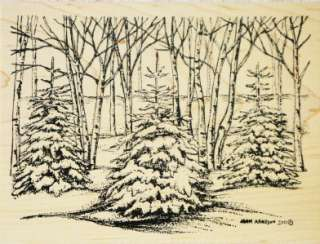 Northwoods Rubber Stamps Christmas Snowy Pines Woods Snow Winter Large