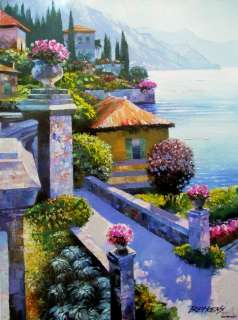 VARENNA VILLA HOWARD BEHRENS EMBELL CANVAS COA Italy