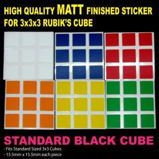 3x3x3 RUBIK CUBE STICKER ~ 6 COLOURS BLACK CUBE~DARK