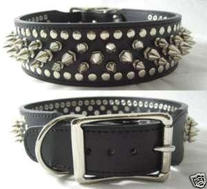 Black Leather Dog Collar Studded Spikes XL 23 25 Neck