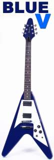 NEW BLUE V ELECTRIC 6 STRING ROCK GUITAR w HUMBUCKERS
