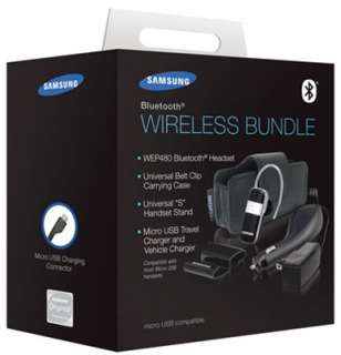Samsung WEP490 Bluetooth Headset w/ Stand & Case & Car/Travel Charger