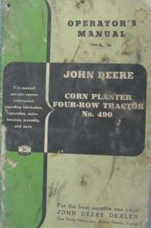 John Deere Four Row Tractor Corn Planter 490 Gli Stili Del Potere Pdf
