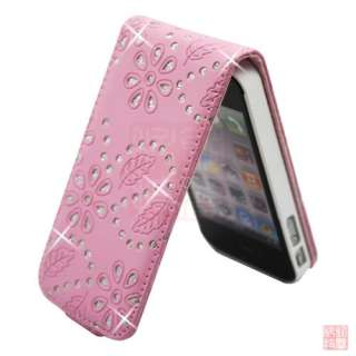 Diamond PU Leather Flip Case Cover Pouch for iPhone 4S 4 4G
