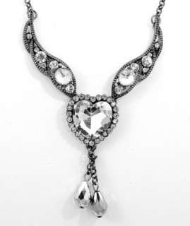 Vintage Crystal Heart with Wings Necklace Quincenera Prom Formal