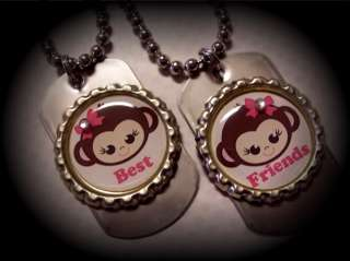 Best Friends Girls MOD Monkey Charm Necklace Birthday
