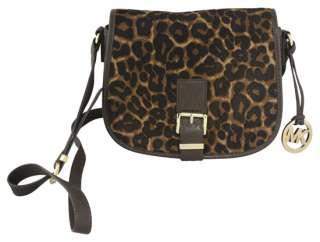 Michael Kors Leopard Medium Messenger Saddle Bag Purse Tote New
