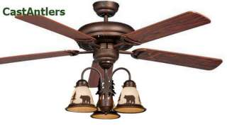 52 CABIN LODGE RUSTIC CEILING FAN W LIGHT KIT (Bear,Moose,Deer,Pine