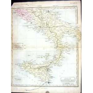 Butler Antique Map 1851 Southern Italy Lipari Malta Sicily