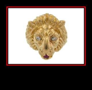 Mens 14K Yellow Gold Lion Dinner Ring w/ Diamond Eyes