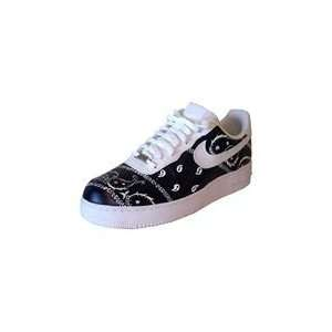 Custom Painted Whole Bandana Nike Air Force One Low Top (White/Black