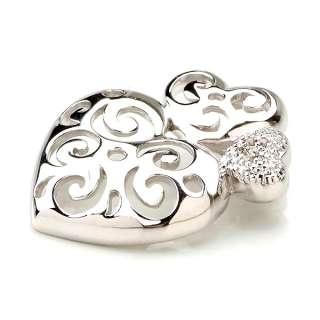 GENUINE DIAMOND 925 STERLING SILVER HEART LOVE PENDANT