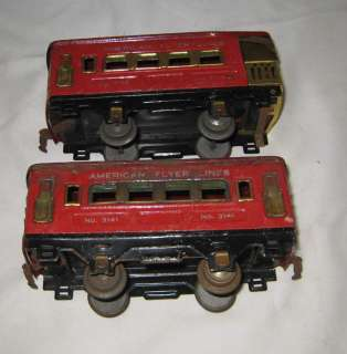 1930s AMERICAN FLYER TRAIN SET ENGINE 3110 CARS 3141 & 3142 O GAUGE
