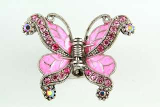 NEW PINK GENUINE CRYSTALS BUTTERFLY HAIR CLAW CLAMP CLIP