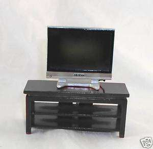 Dollhouse Miniature Wide Screen TV Stand, Black (STAND only)