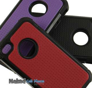 PURPLE BLACK SOFT RUBBER SKIN HARD CASE FOR iPHONE 4S