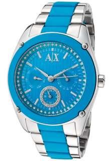 Armani Exchange Watch AX5044 Womens White Rhinestone Pink Dial