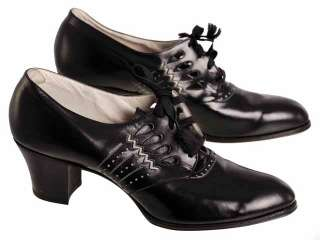 Vintage Ladies Black Leather Tie Oxfords Shoes Heels 1930s NIB Sz 7