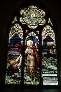 Fine Traditional Stained Glass Window of Jesus + (Walking on water