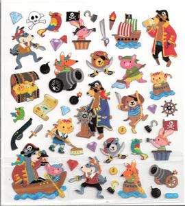 Animal Pirate treasure ship map cannon stickers silver accents