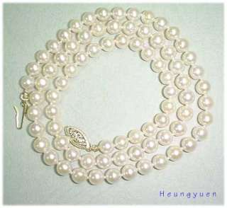 18 AA GRADE 5.5MM BABY PINK AKOYA NECKLACE 14KY GOLD