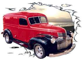 You are bidding on 1 1946 Red Chevy Panel Truck Custom Hot Rod Sun