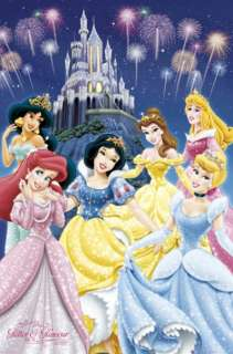 DISNEY POSTER ~ PRINCESS GLITTER Ariel Cinderella Belle