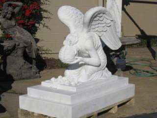 Hand Carved Marble Weeping Angel Monument Statue