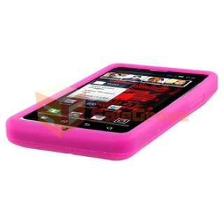 Pink Gel Soft Case+Privacy Film+Car+AC Charger For Motorola Droid