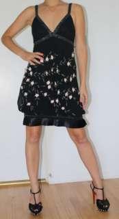 Sue Wong Black Beaded Flower Applique Cocktail Dress 0 2 XS S