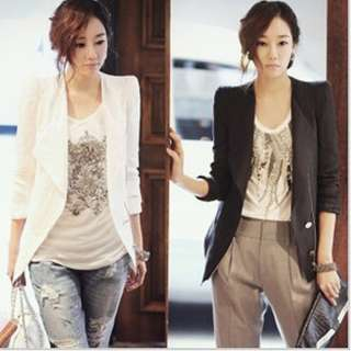 Korea Style Black White Women Career OL Slim Suit Coats Jackets