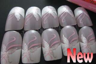 Full Tip French Acrylic Nail Art Tips (Glitter Pink Butterfly) 24Pcs