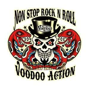Vince Ray   Non Stop Rock Voodoo Action Skull   Vinyl Sticker / Decal
