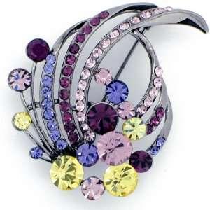 Amethyst Purple Flower Swarovski Crystal Brooch Pin