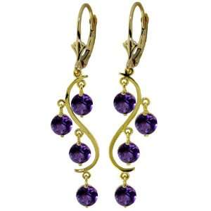 14k Solid Gold Curved Earrings with Amethysts Jewelry
