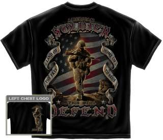 Soldier T Shirt we will defend usmc marine corps army us flag MM112