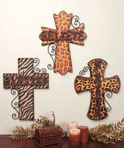 BELIEVE FAITH ANIMAL PRINT 18 METAL CROSS WALL DECOR ART