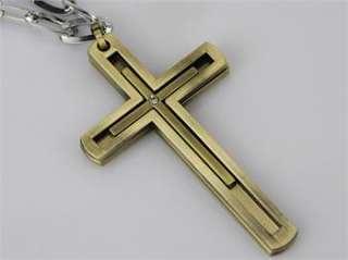 Rhinestone double Cross Pendant Chain Necklace Favor Jesus Gift 039