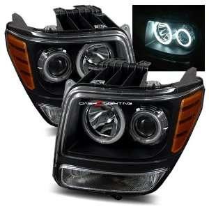 07 09 Dodge Nitro CCFL Halo Projector Headlights   Black