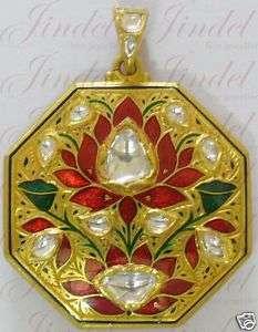 Hand made Enamel 22k Gold Moghul Look Diamond Pendant