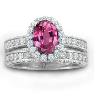 Vintage Inspired Natural Pink Sapphire Diamond Engagement Wedding Ring