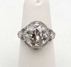 Antique Platinum Engagement Ring European Cut Diamond 2.66 Art Deco