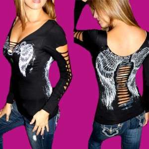 DEMI LOON DIY Slashed L/S Goth FALLEN ANGEL Sexy Tattoo Wing Shirt Top