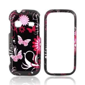Pink Flowers & Butterflies on Black Hard Plastic Case Snap