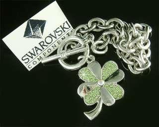 Swarovski Austrian Crystal ~Green 4 leaf CLOVER SHAMROCK Flower
