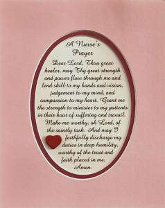 NURSEs PRAYERs verses poems plaques FAITH Kind Patients